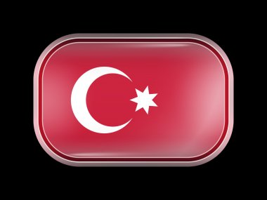 Ottoman Empire Variant Flag. Rectangular Shape with Rounded Corn