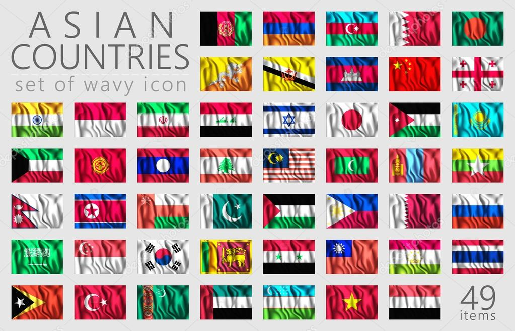 Asiatische Flaggen. Rechteckigen Symbole — Stockvektor © Simeon.VD ...