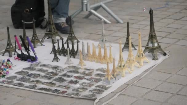 Souvenir Eiffel Towers and magnets with Paris landmarks