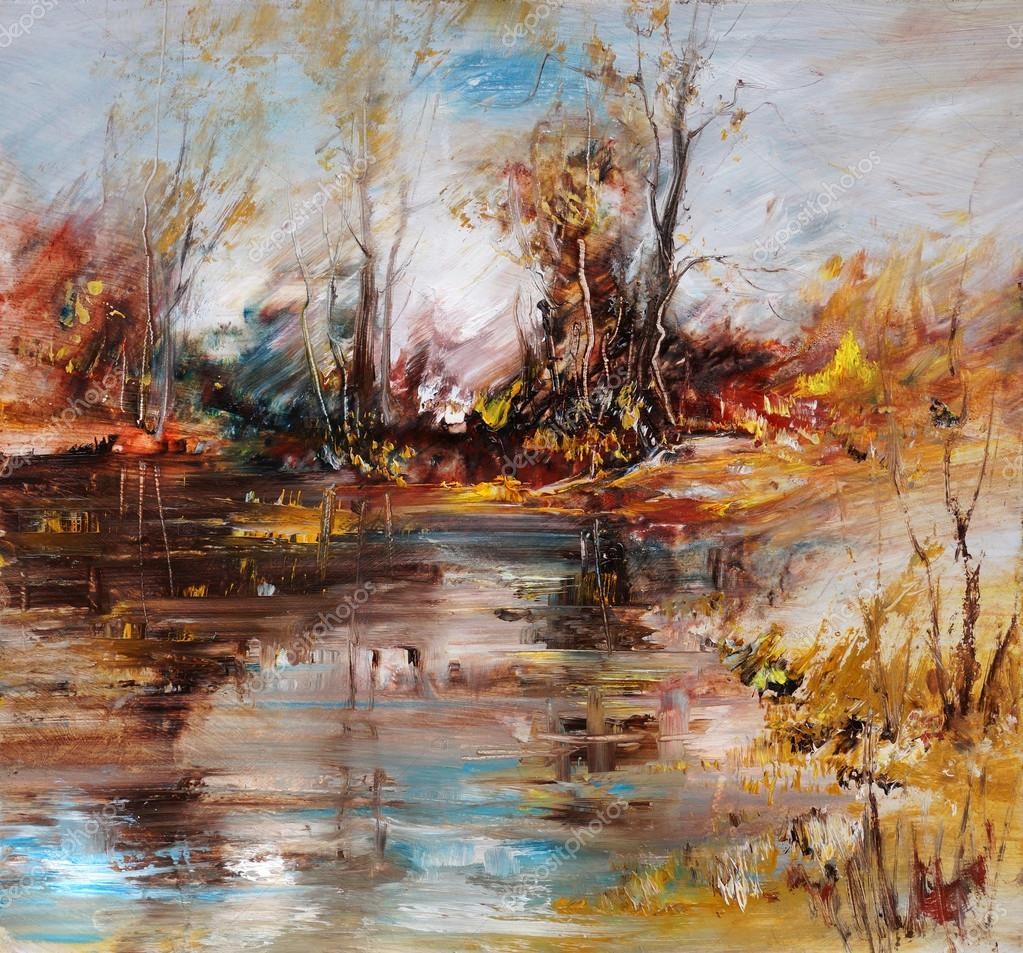 Landscape on the lake shore, oil painting