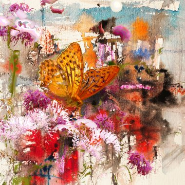 Butterfly and abstract watercolor, art background