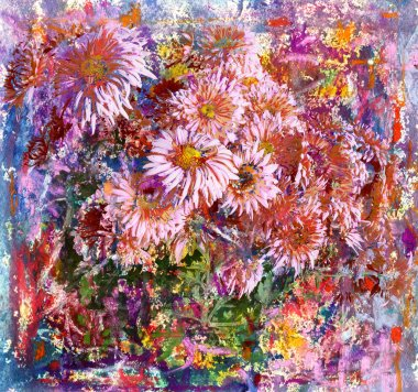 Pink flowers painting watercolors and pastels