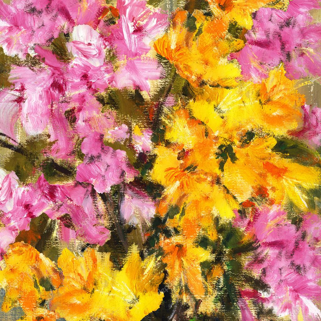 Pink And Yellow Flowers Abstract Painting Stock Photo Kvocek