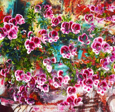 Purple flowers, abstract oil painting on canvas