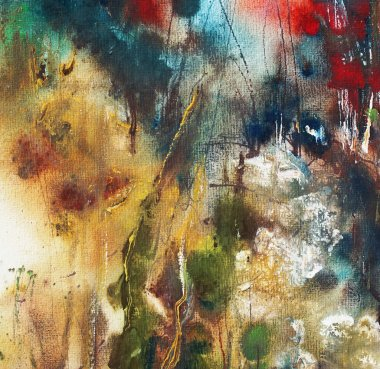 Abstract landscape painting on handmade paper