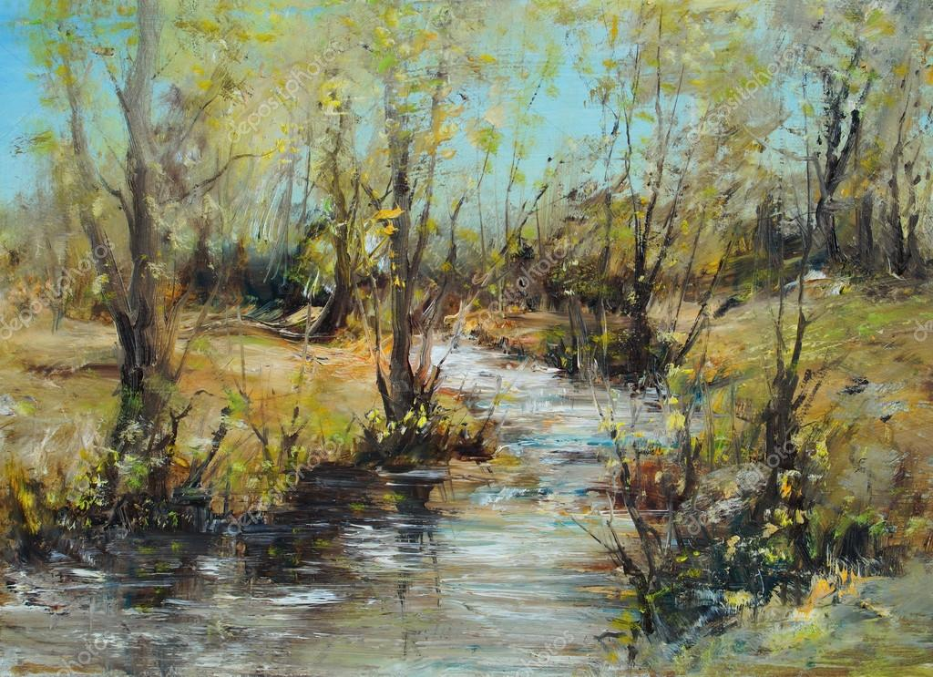 Landscape with creek and woods, oil painting