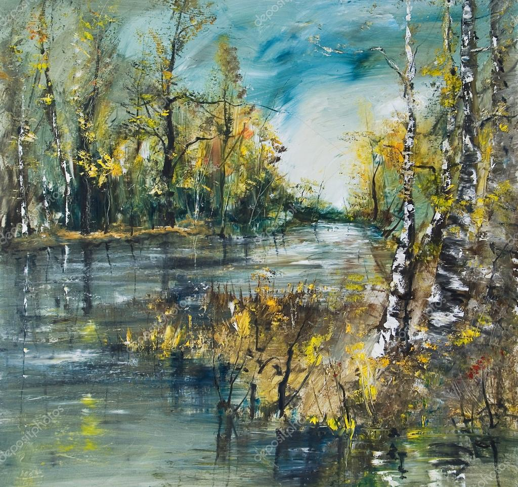 Landscape with river and birch forest, oil painting