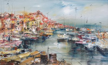 "Картина, постер, плакат, фотообои ""город у моря и гавани, живопись маслом маслом копия картина"", артикул 88199966"