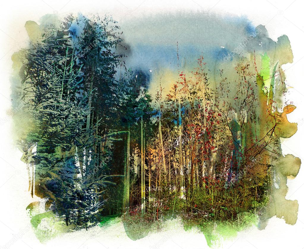 Forest motif, watercolor and mixed media