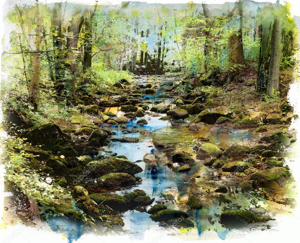 Stream in the forest, watercolor and mixed media