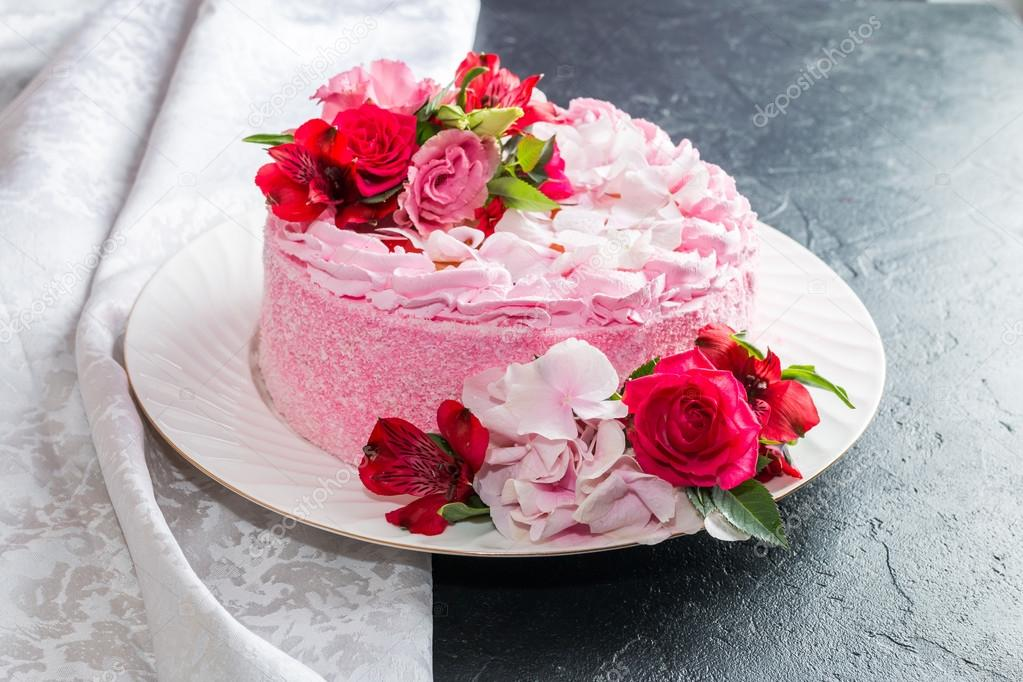 Rosa Pastel Con Flores Naturales