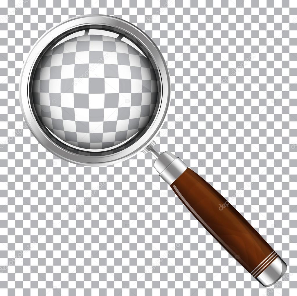 Lente di ingrandimento con manico in legno vettoriali - Specchio con lente di ingrandimento ...