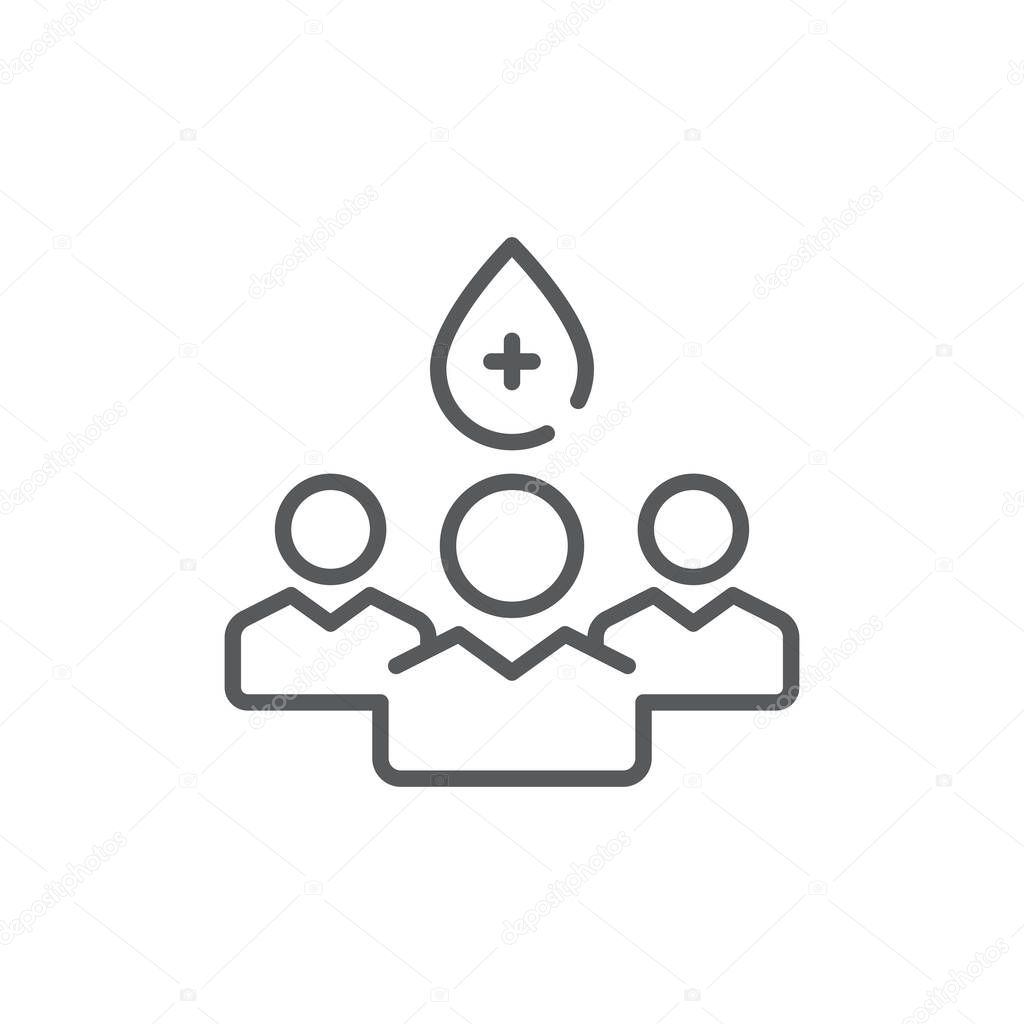 Donors people icon, color, line, outline vector sign, linear style pictogram isolated on white. Symbol, logo illustration. Editable stroke. Pixel perfect icon