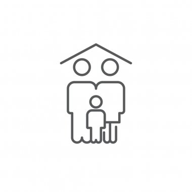 Family home icon, color, line, outline vector sign, linear style pictogram isolated on white. Symbol, logo illustration. Editable stroke. Pixel perfect icon