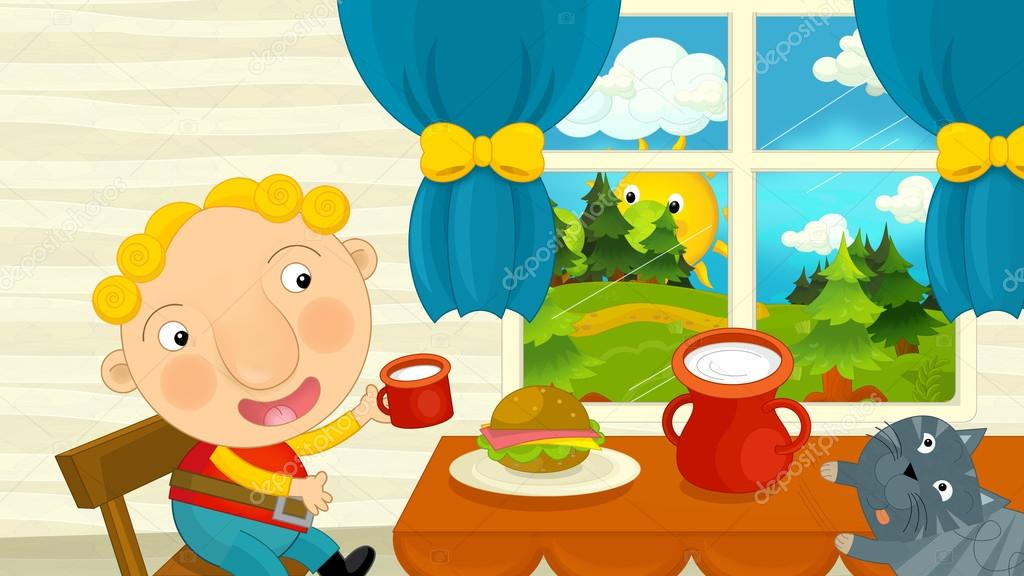 Cartoon Boy Eating In The Dining Room Stock Photo Agaes8080