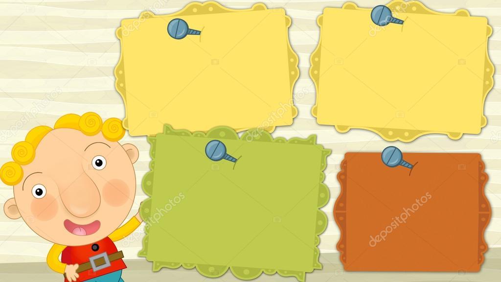 Marcos de dibujos animados con espacio para texto - con el niño que ...