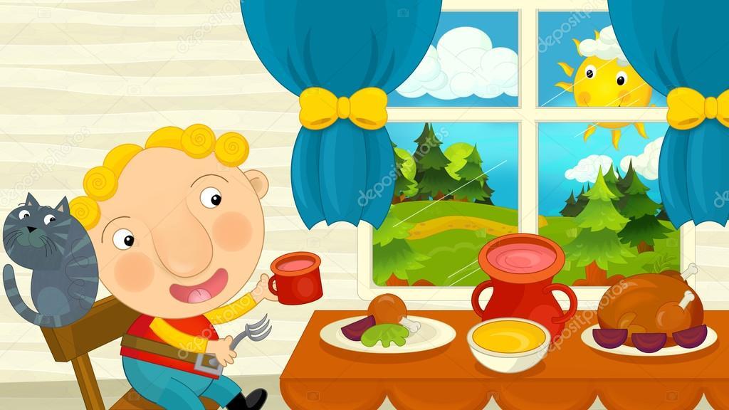 Menino de desenho animado comendo na sala de jantar for Salle a manger dessin anime