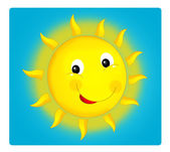 Kreslené scény s počasím - happy sun