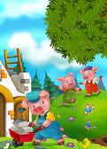 Kreslené pohádky scéna s prasaty, dělá různé prasata