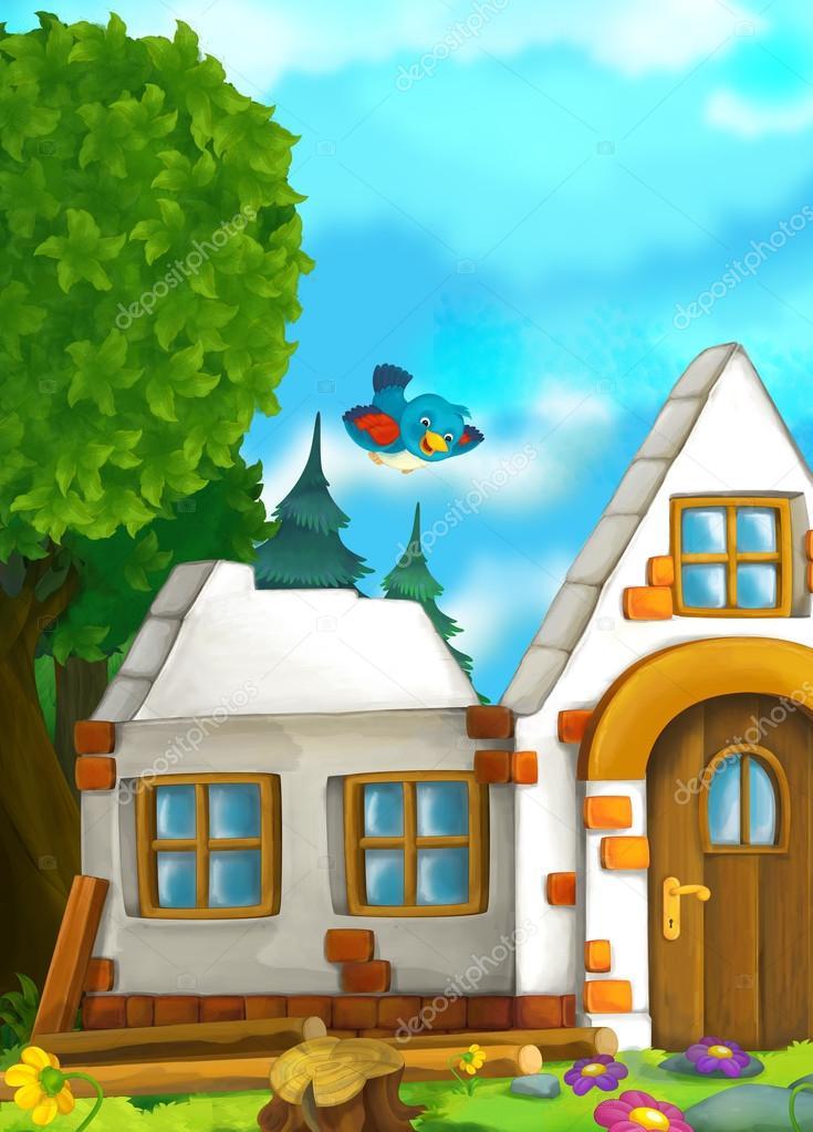 Escena de cuento de hadas de dibujos animados con una casa for Costruendo su una casa di ranch