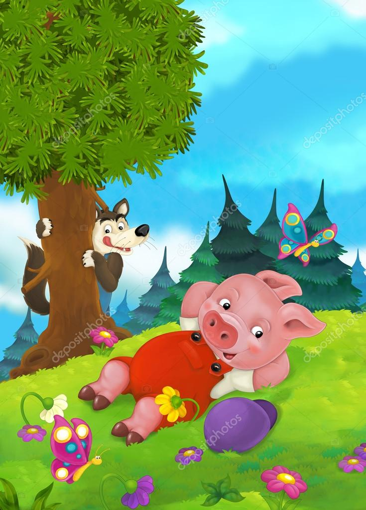 Cartoon fairy tale scene with pigs doing different pigs