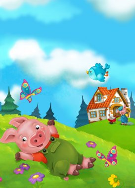 Cartoon fairy tale scene with pigs doing different things