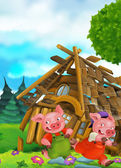 Cartoon scene of house being demolished - pigs running