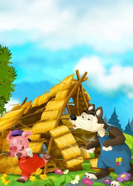 Cartoon scene of house being demolished - wolf puffing and pig running
