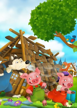 Cartoon scene of house being demolished - wolf and pigs