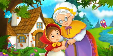 Cartoon scene on a granddaughter and her grandmother standing by the old house near the forest