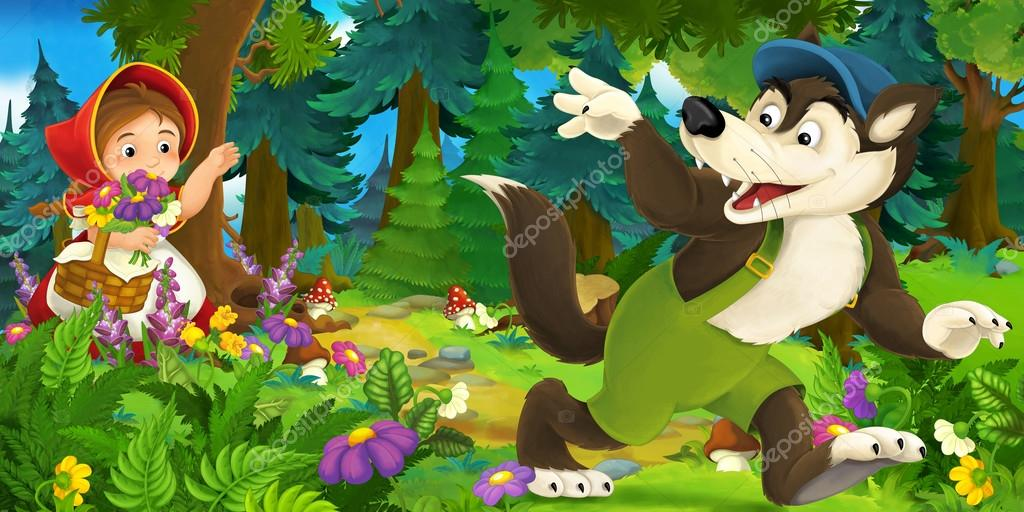 Cartoon scene of wolf waving goodbye to a girl in the forest
