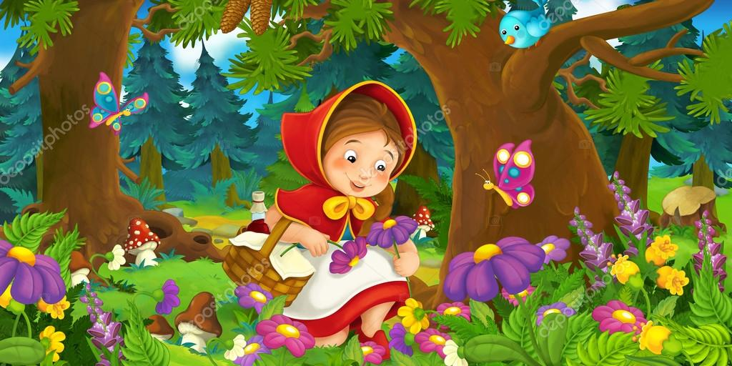 Cartoon scene on a happy girl inside colorful forest
