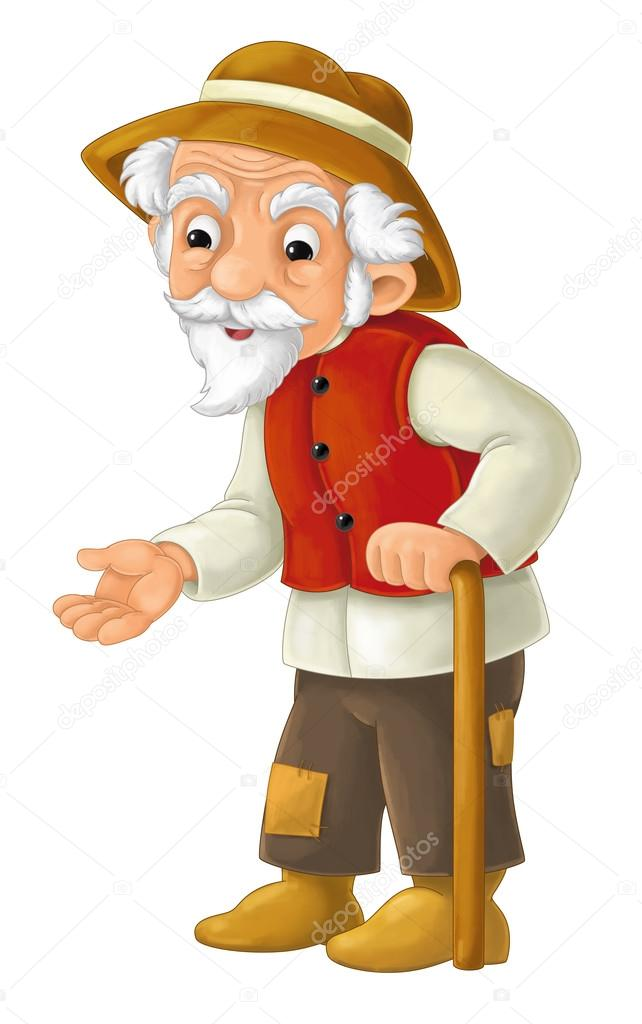 cartoon character - male farmer - old man - isolated — stock photo