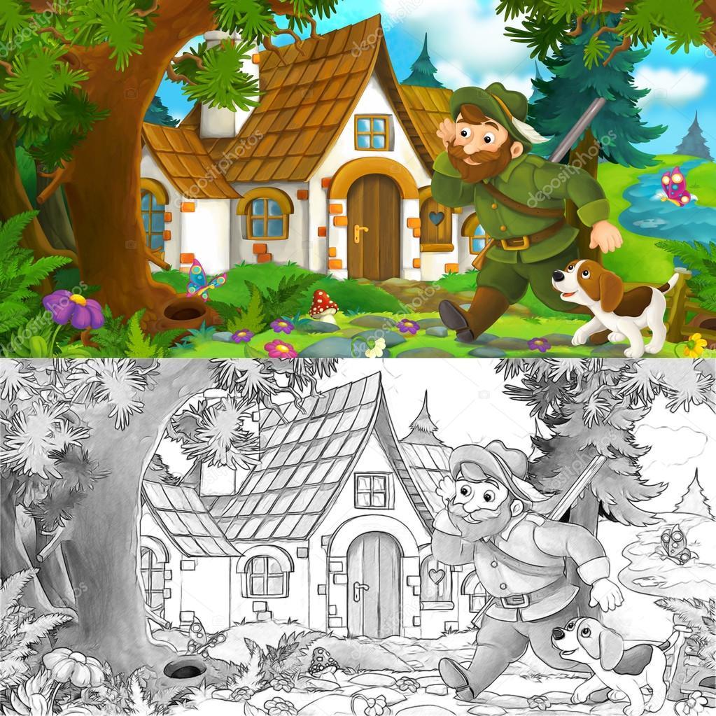 Escena de dibujos animados con un cazador caminando hacia hermosa ...