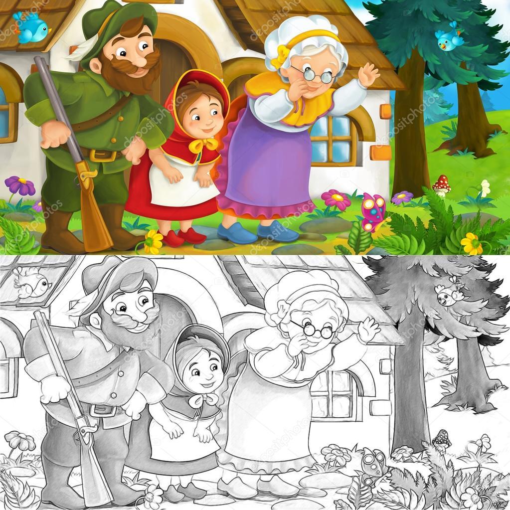 Cartoon-Szene von einer Oma kleines Mädchen und ein Waldläufer in ...