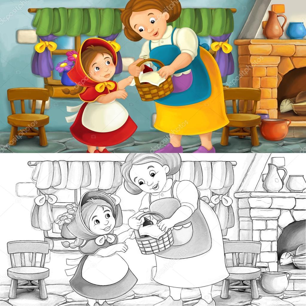 Escena de la historieta de una madre o abuela con un niño en la ...