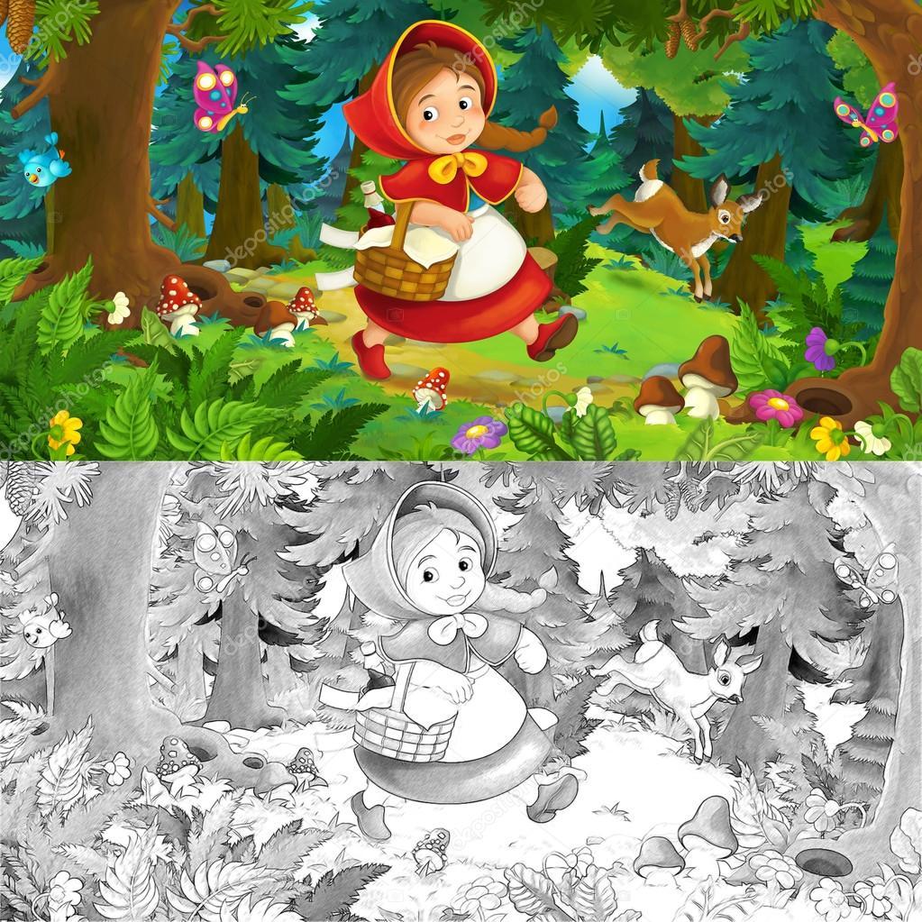 Escena de dibujos animados sobre una muchacha feliz dentro de bosque ...