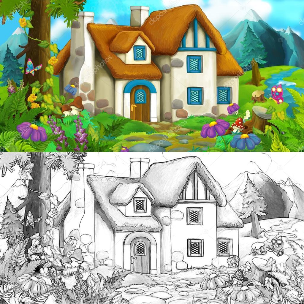 Escena de dibujos animados de la casa granja - página para colorear ...