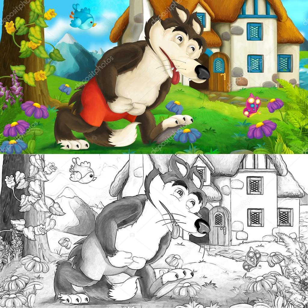 Escena de dibujos animados de un lobo con estómago grande - enfermo ...