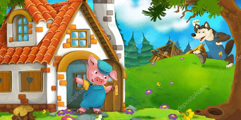 Cartoon scene of a pig near the house and wolf running to him