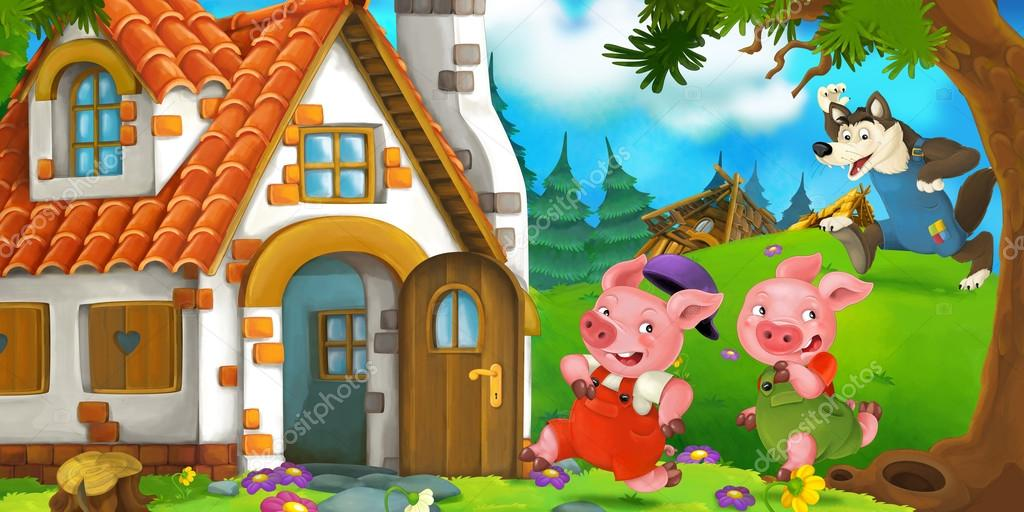 Cartoon scene of two running pigs to the house of their brother