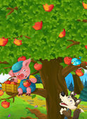 Cartoon scene of a pig on the apple tree and sneaky wolf below