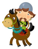 Kreslené scény na jezdec - archer - izolovaný