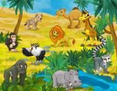 Fotografie Cartoon scene of desert - different animals