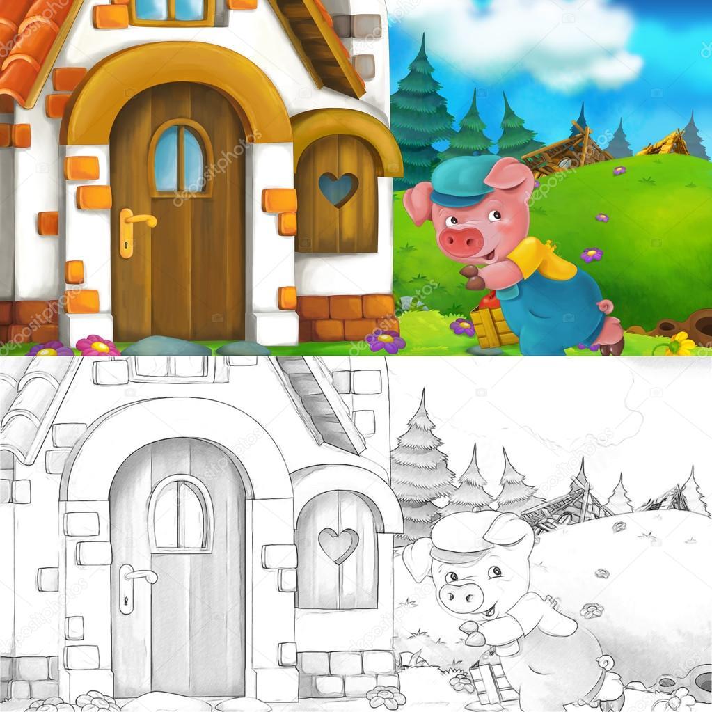 Cartoon Szene Eines Schweins In Der Nähe Des Hauses Im Gespräch Mit