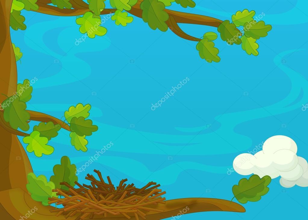 Imagenes De Un Arbol Animado: Arbol Con Un Nido Animado