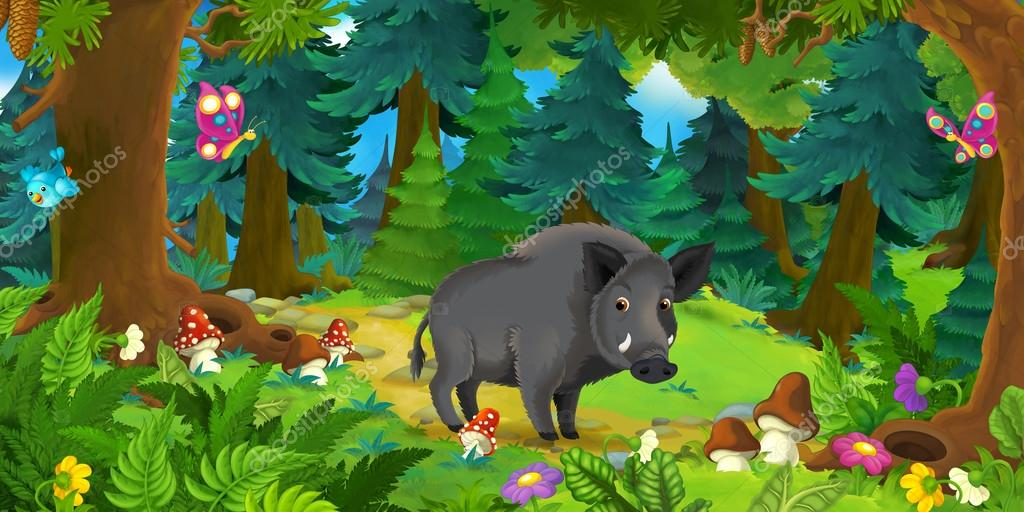happy wild boar standing in the forest