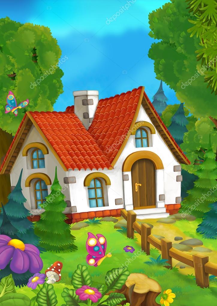 Fondo de dibujos animados de una antigua casa en el bosque - Casitas en el bosque ...