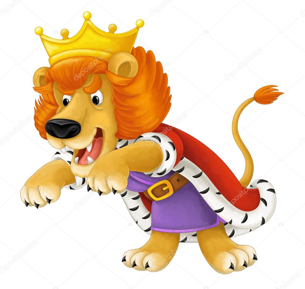 Cartoon Scene Of Lion Dressed Like King