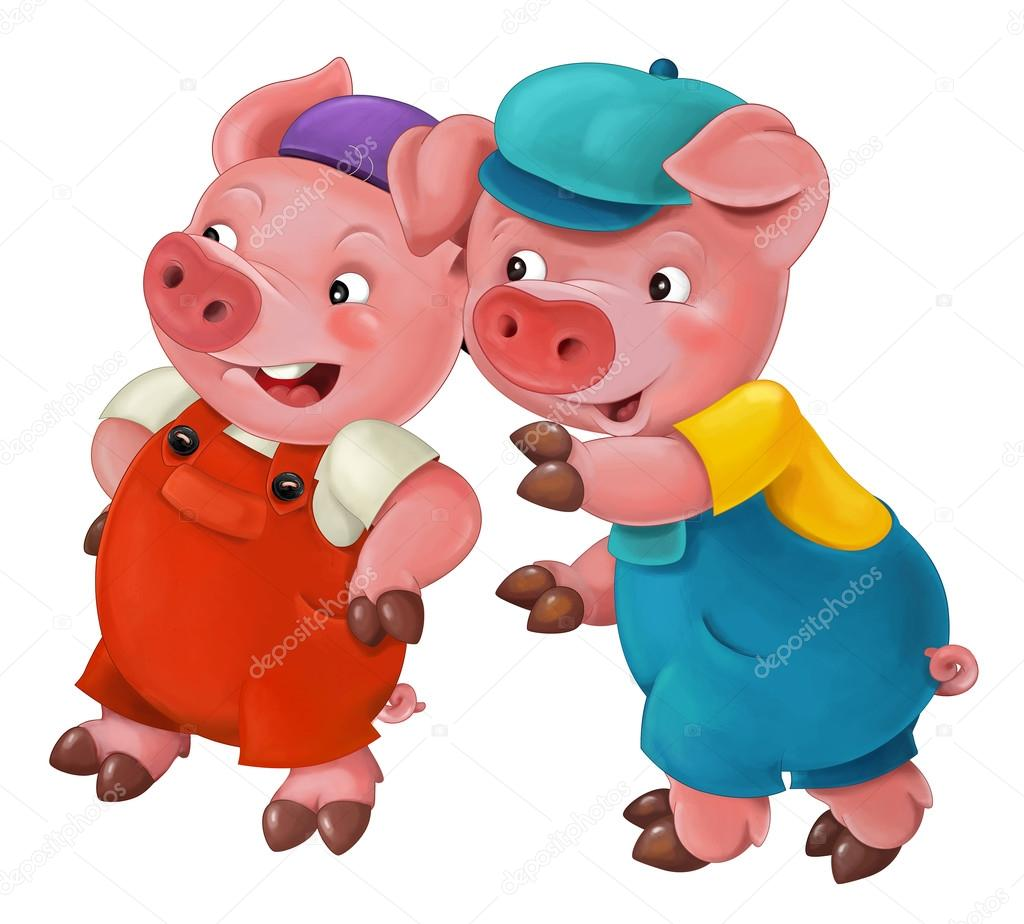 Cartoon isolated young pigs in work outfit - isolated - illustration for the children